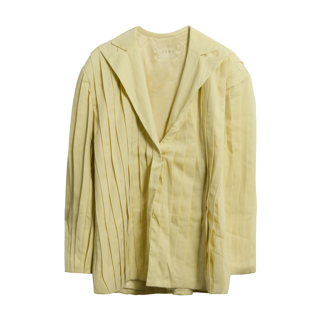 LEEWÉI Ma H Pleated Blazer in Soft Lemon