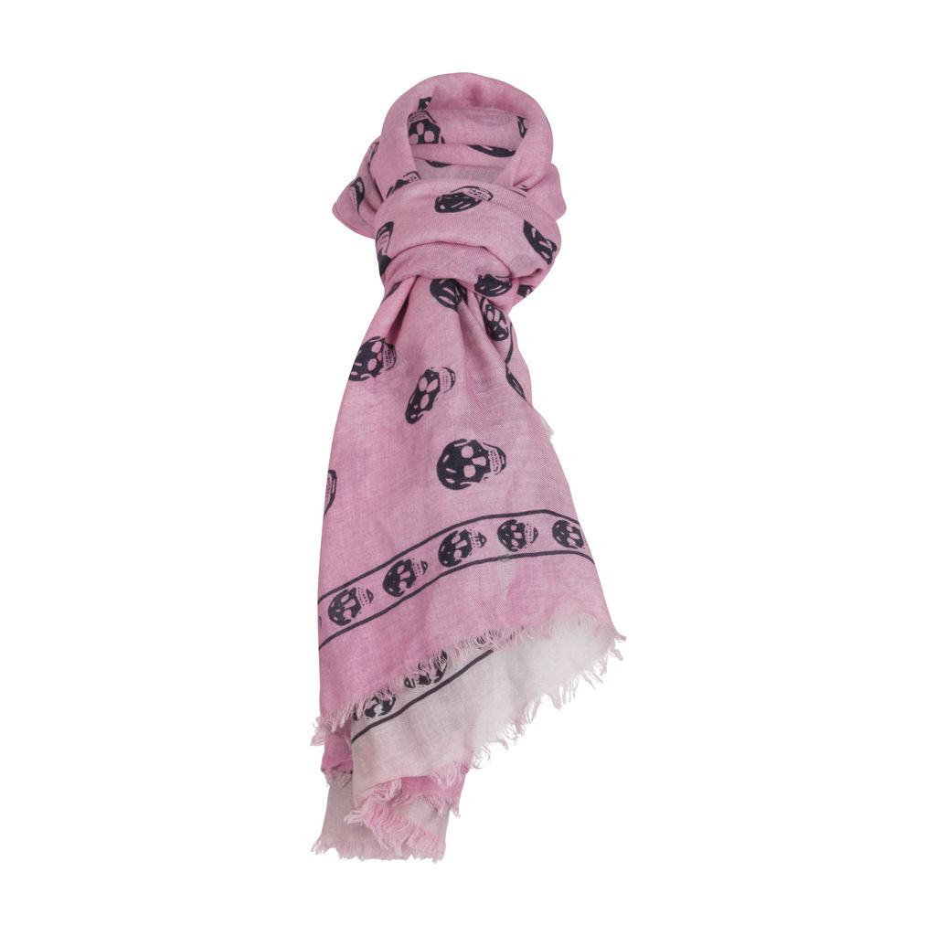Alexander McQueen Skull Scarf- Pink/Grey