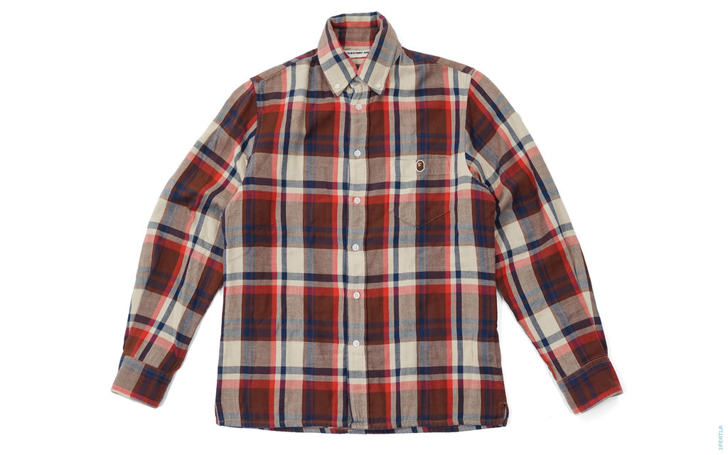 BAPE Plaid Button-Up Shirt red light_brown