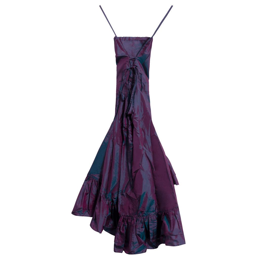 Azeeza Iridescent Tiered Ruffle Silk Midi Dress