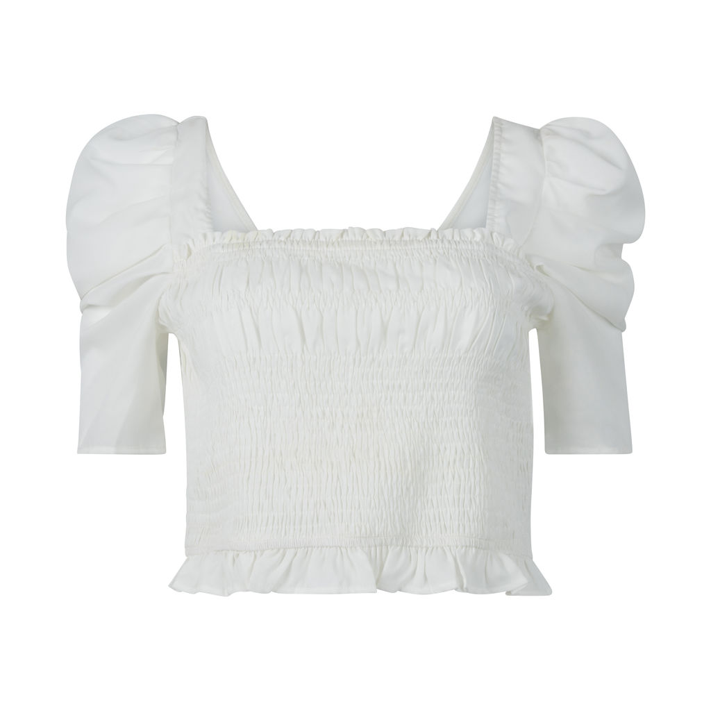 Smocked Puff Sleeve Crop Top