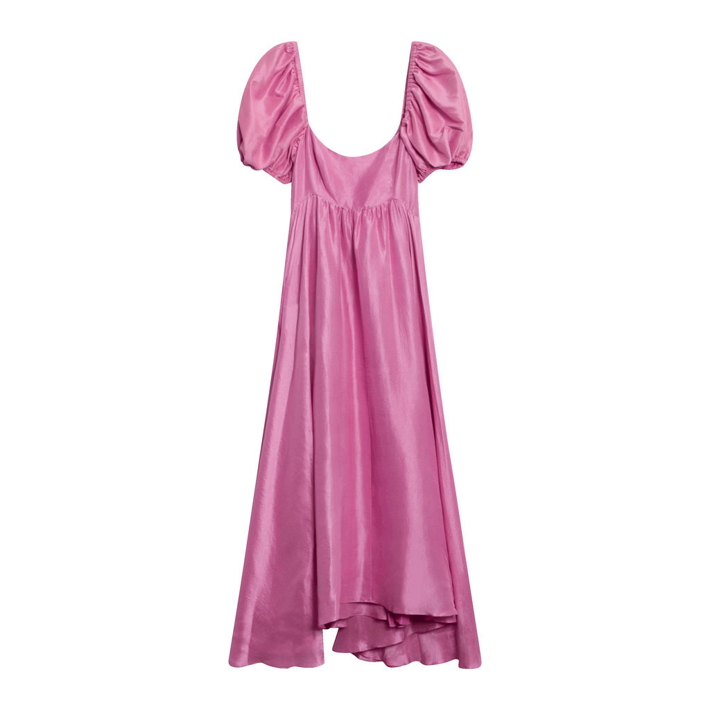 Rory Raw Silk Dress - Peony