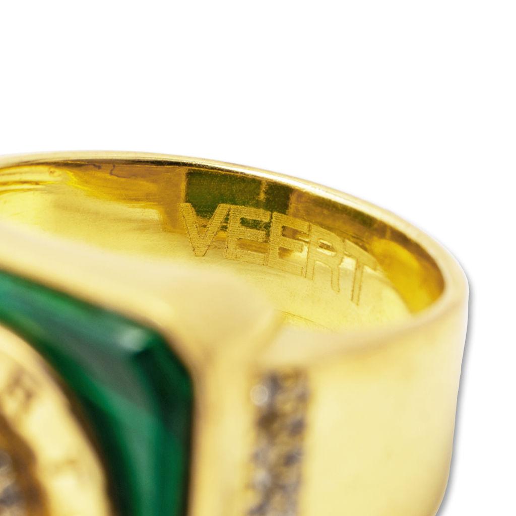Malachite & Green Onyx Signature Ring - 18k gold plated brass