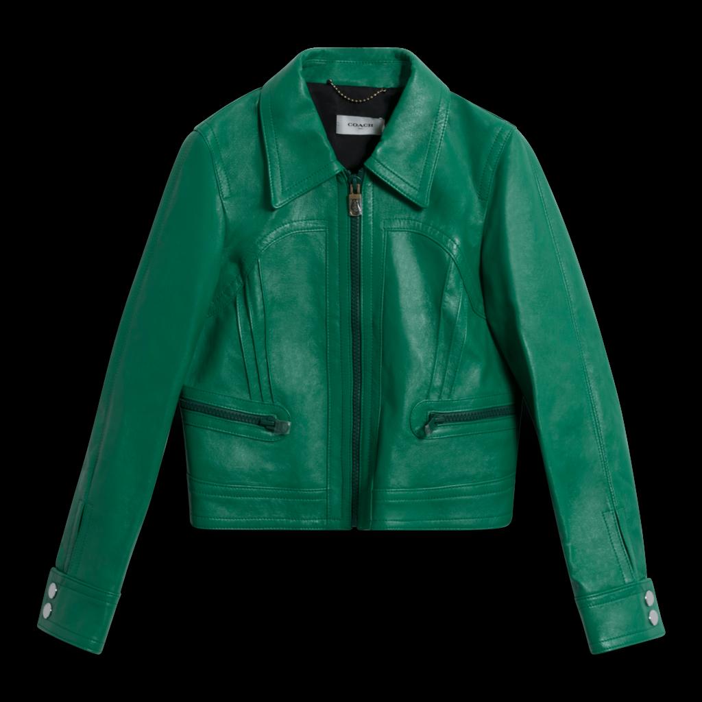 Coach Cropped Leather Blouson Jacket