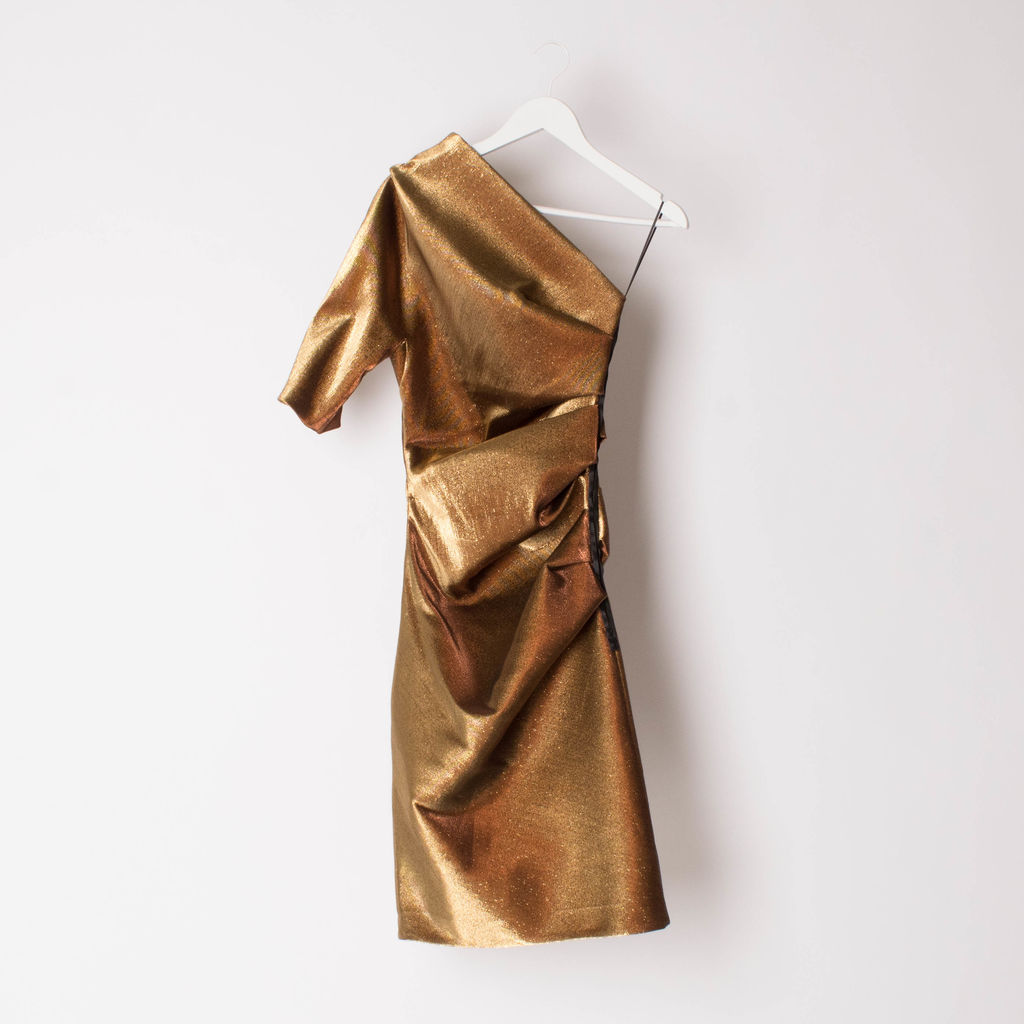 Lanvin Gold Lame One-Shoulder Dress