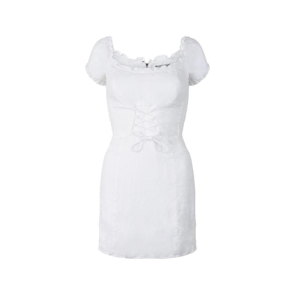 Reformation Smocked Linen Mini Dress