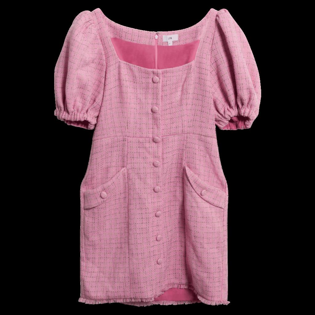 LPA Aurelie Tweed Puff-Sleeve Dress