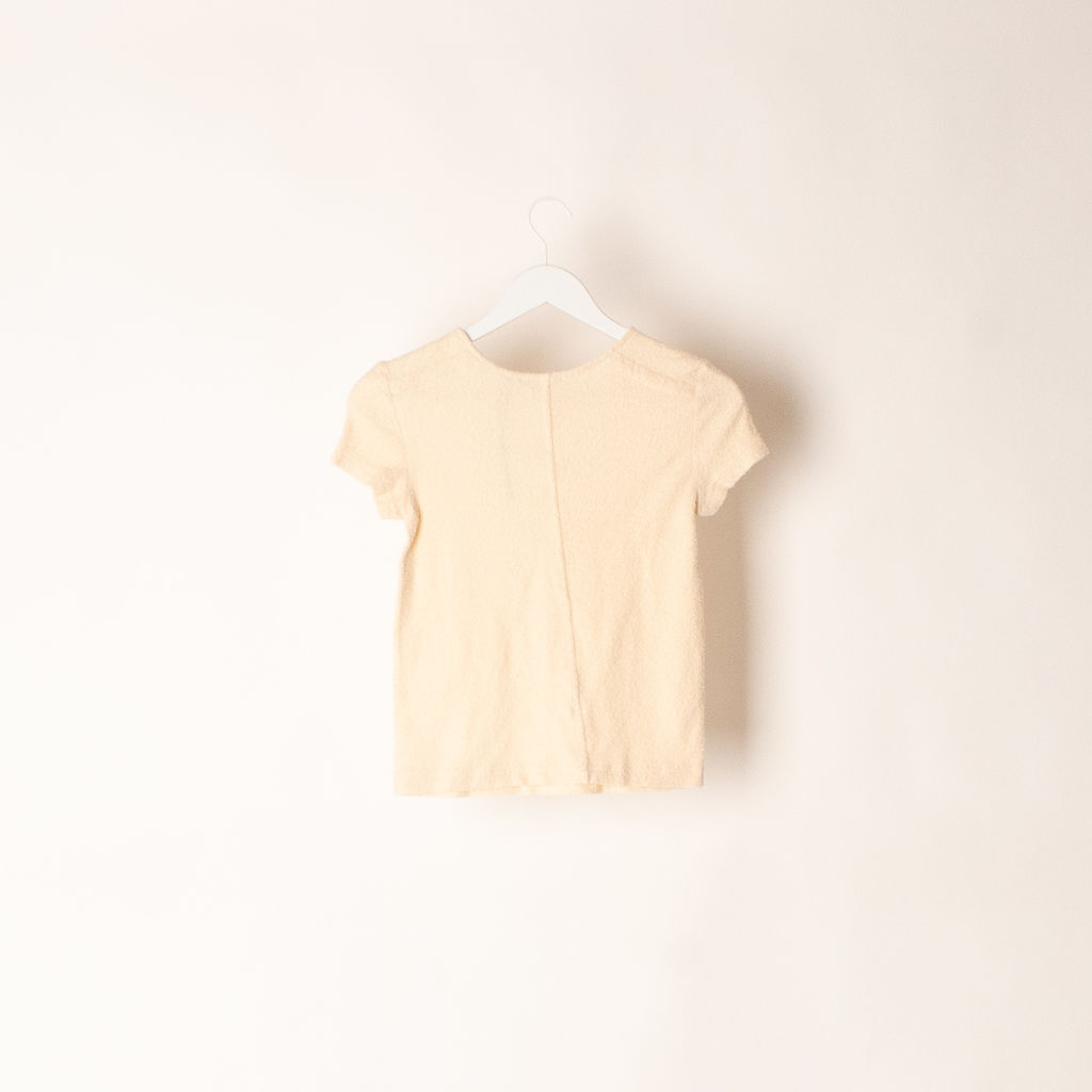 Helmut Lang Short Sleeve Stretch Terry Tee in Ivory