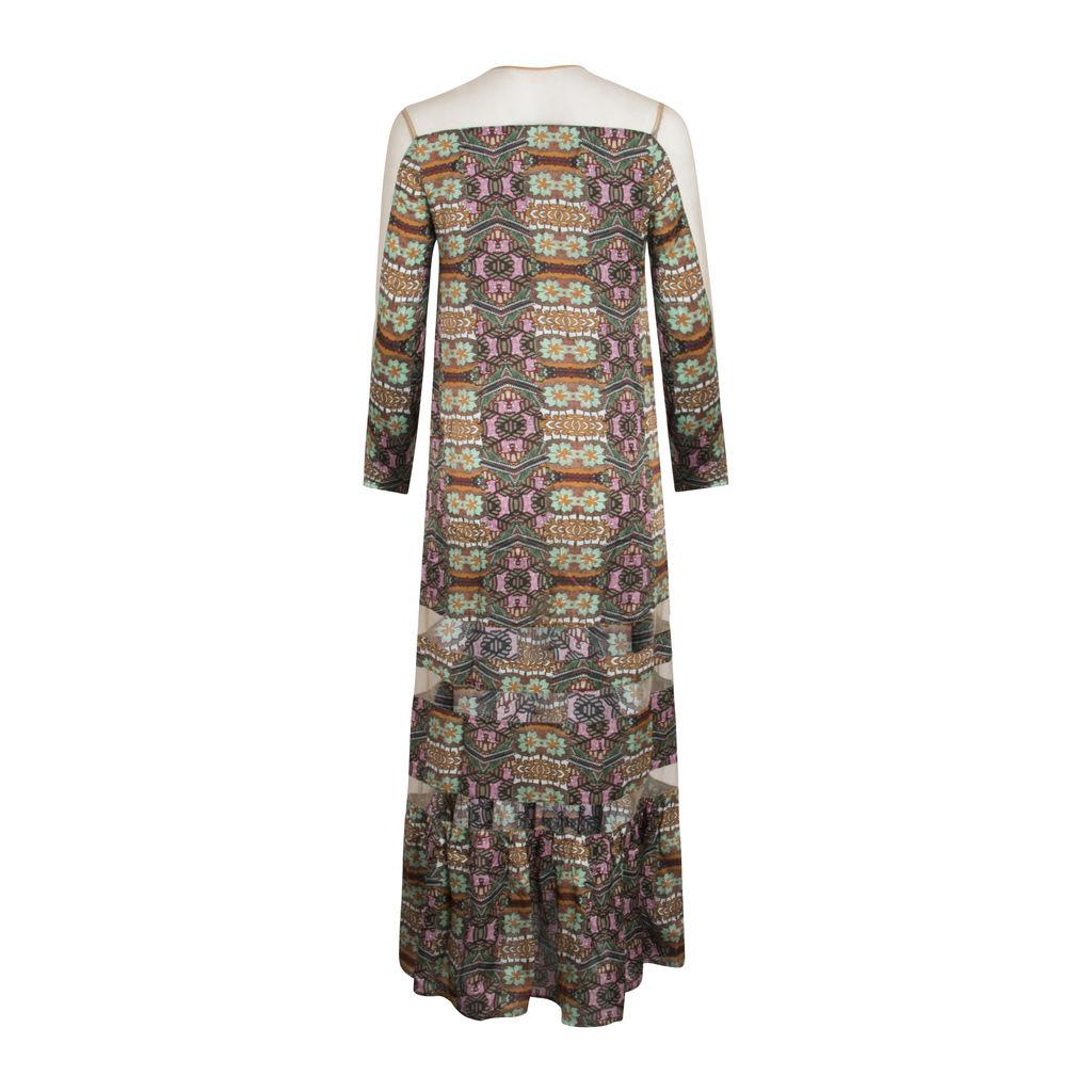 Sonia De Nisco Floral Printed Mesh Dress