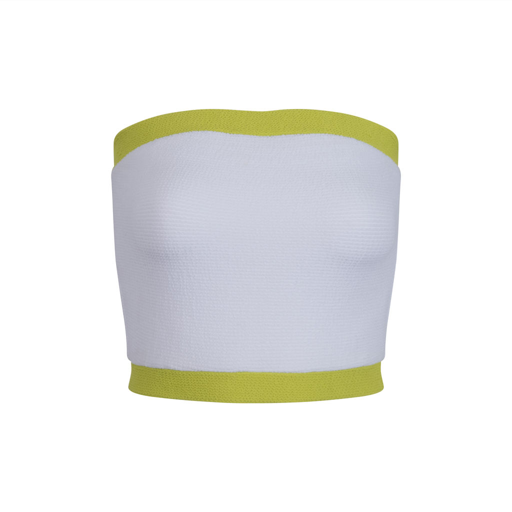 Solid & Striped White and Lime Tube Top