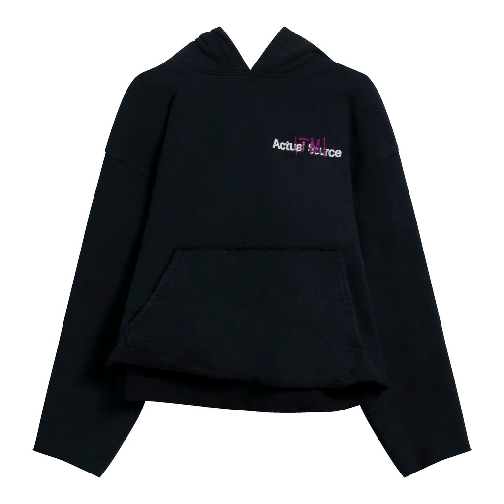 Reworked Actual Source Books Extended Wear Hoodie in Black