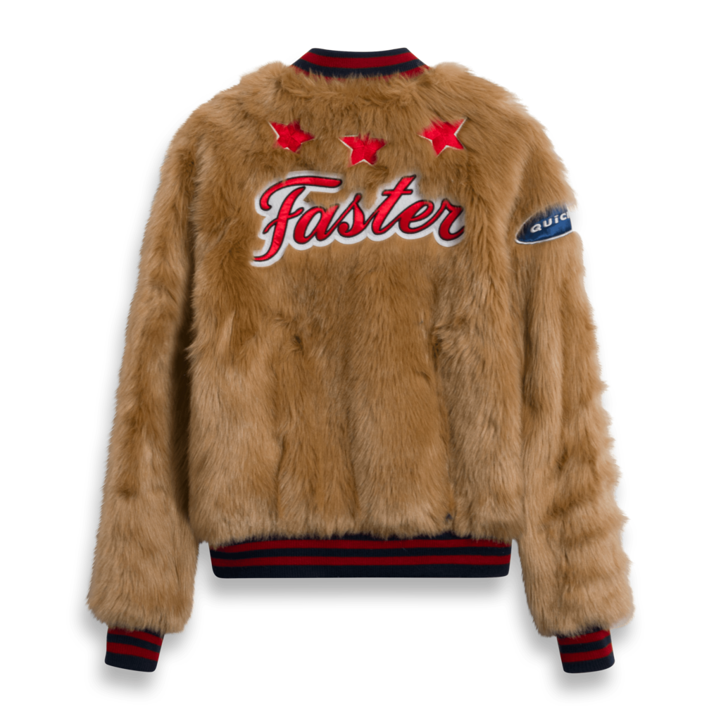 Mother The Letterman Patch faux Fur Jacket
