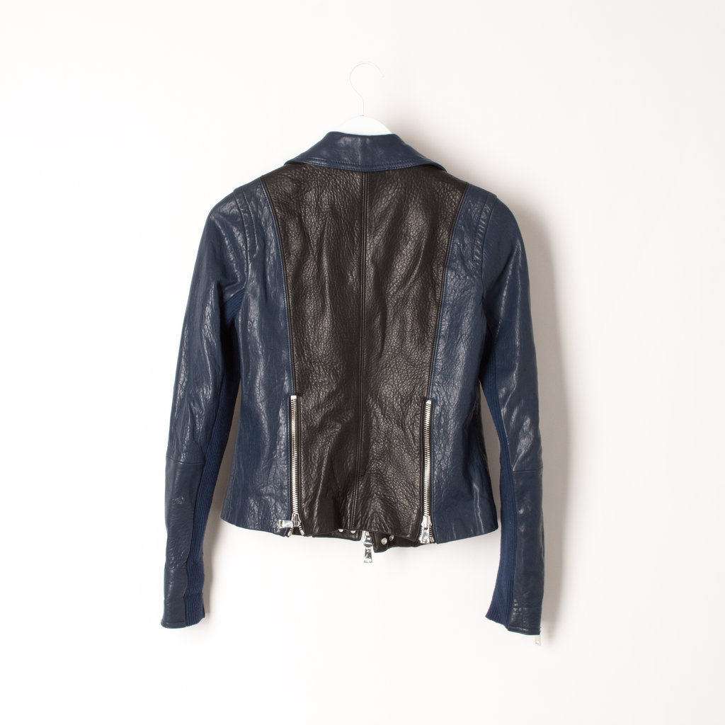 Vince Leather Jacket in Black + Blue