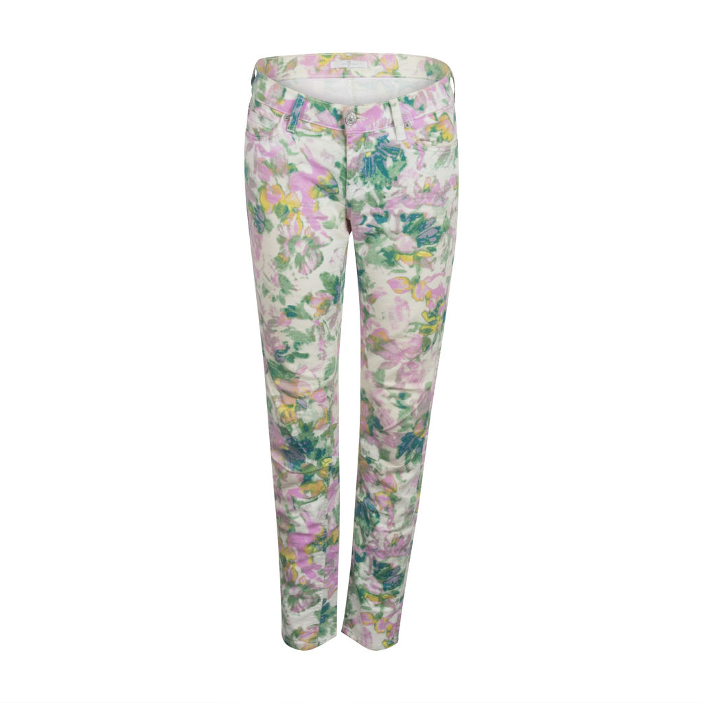 7 For All Mankind Floral Stretch Skinny Jeans- White/Pink