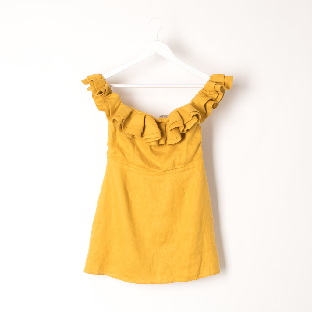 Reformation Mustard Yellow Short Dress