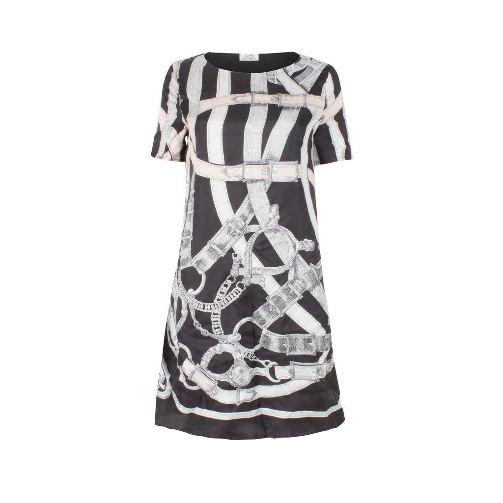 Hermes Chain Print Short Sleeve Dress