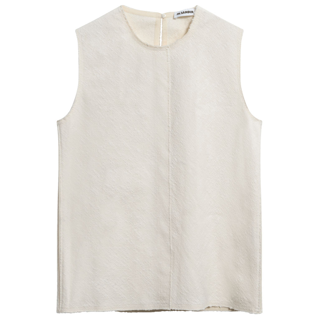 Jil Sander Bouclé Sleeveless Blouse in Cream
