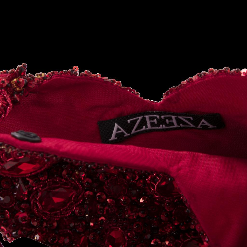 Azeeza Heart Raw Silk Red Embellished Pouch