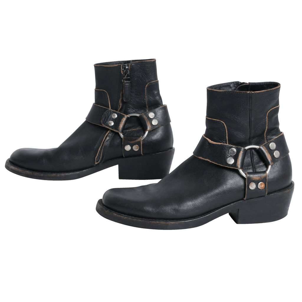 Balenciaga Distressed Leather Harness Boot