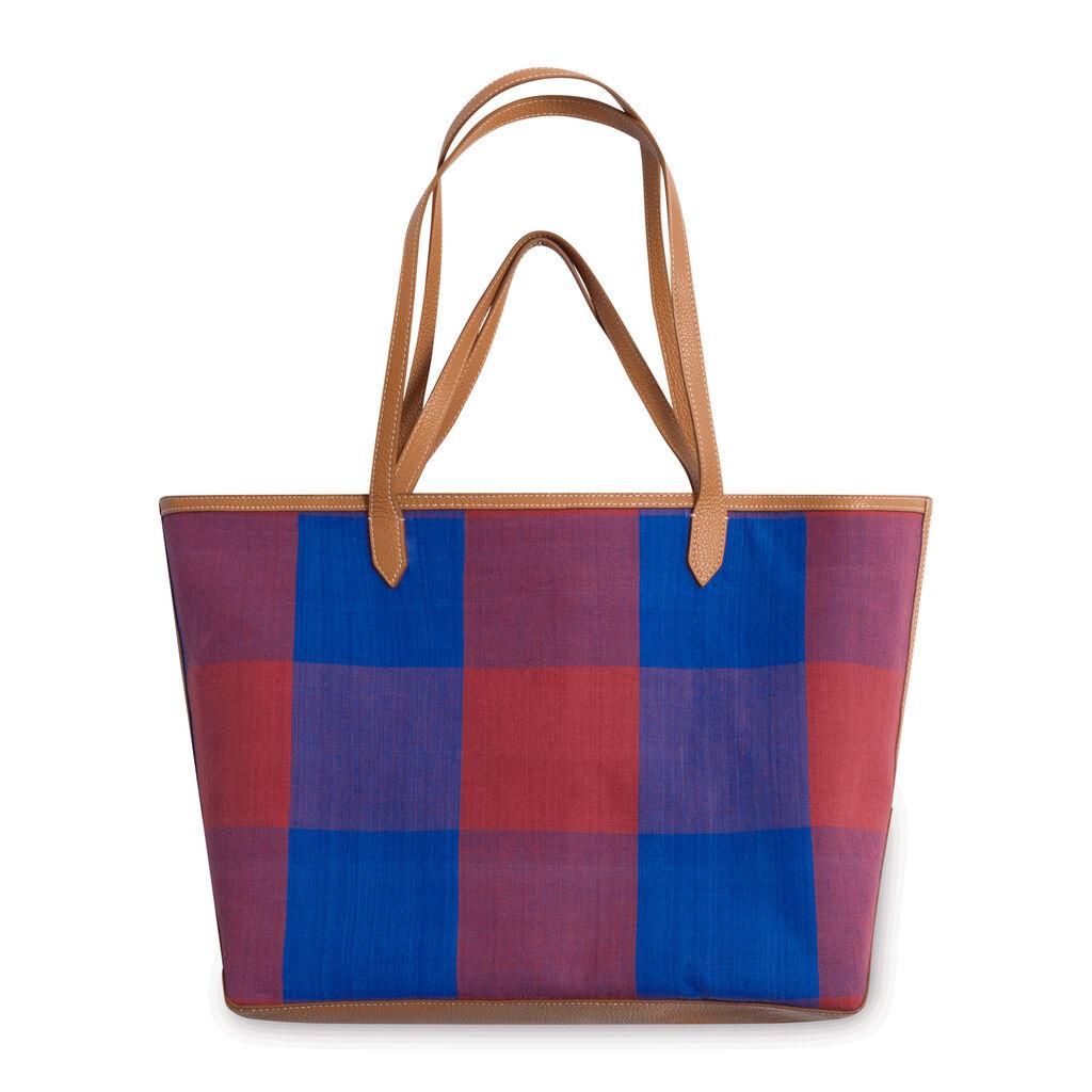 'Duo' Reversible Tote Bag - Santorini/Red Gingham