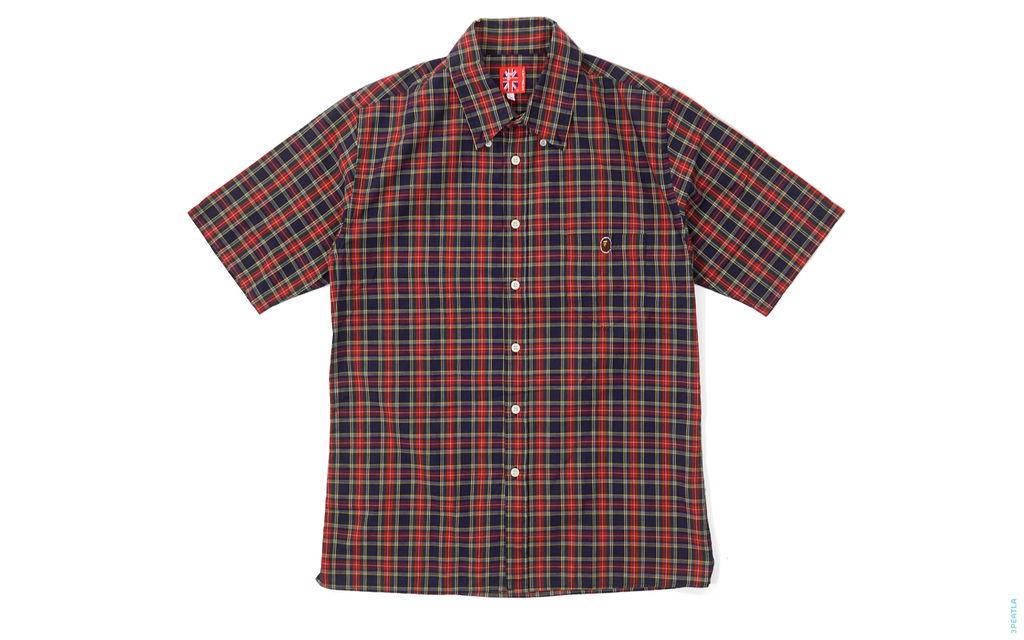 Plaid Short Sleeve Button-Up Shirt red
