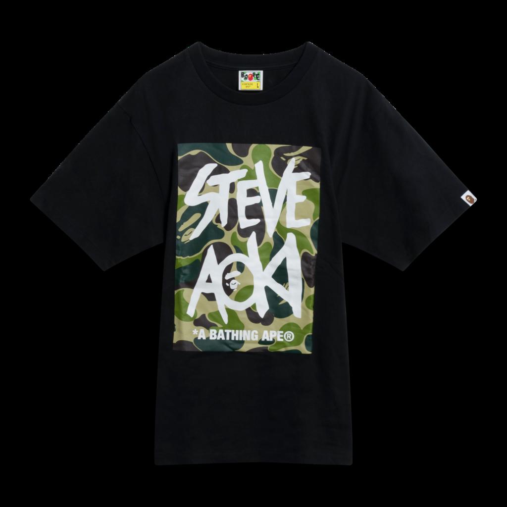 BAPE x Steve Aoki Camo Box Tee in Black