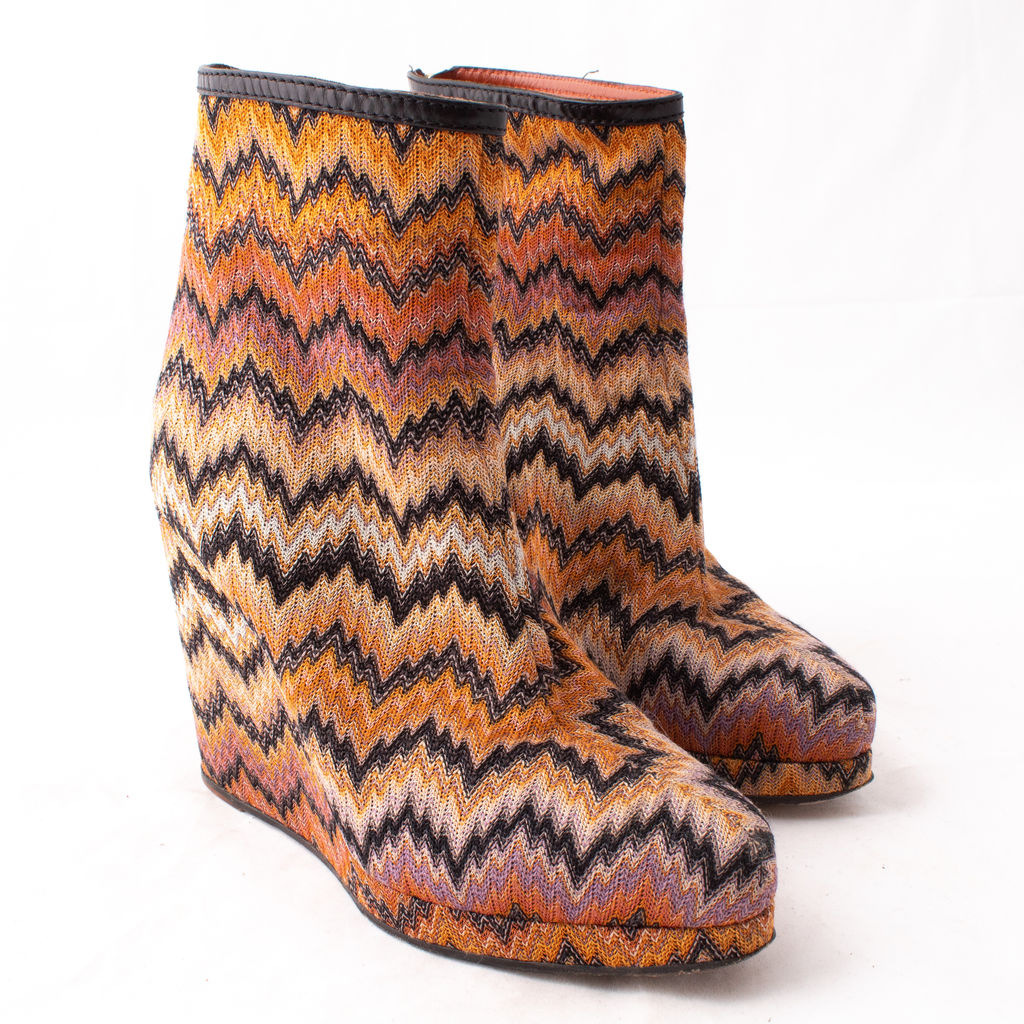 Missoni Zig Zag Textile Wedge Ankle Boot