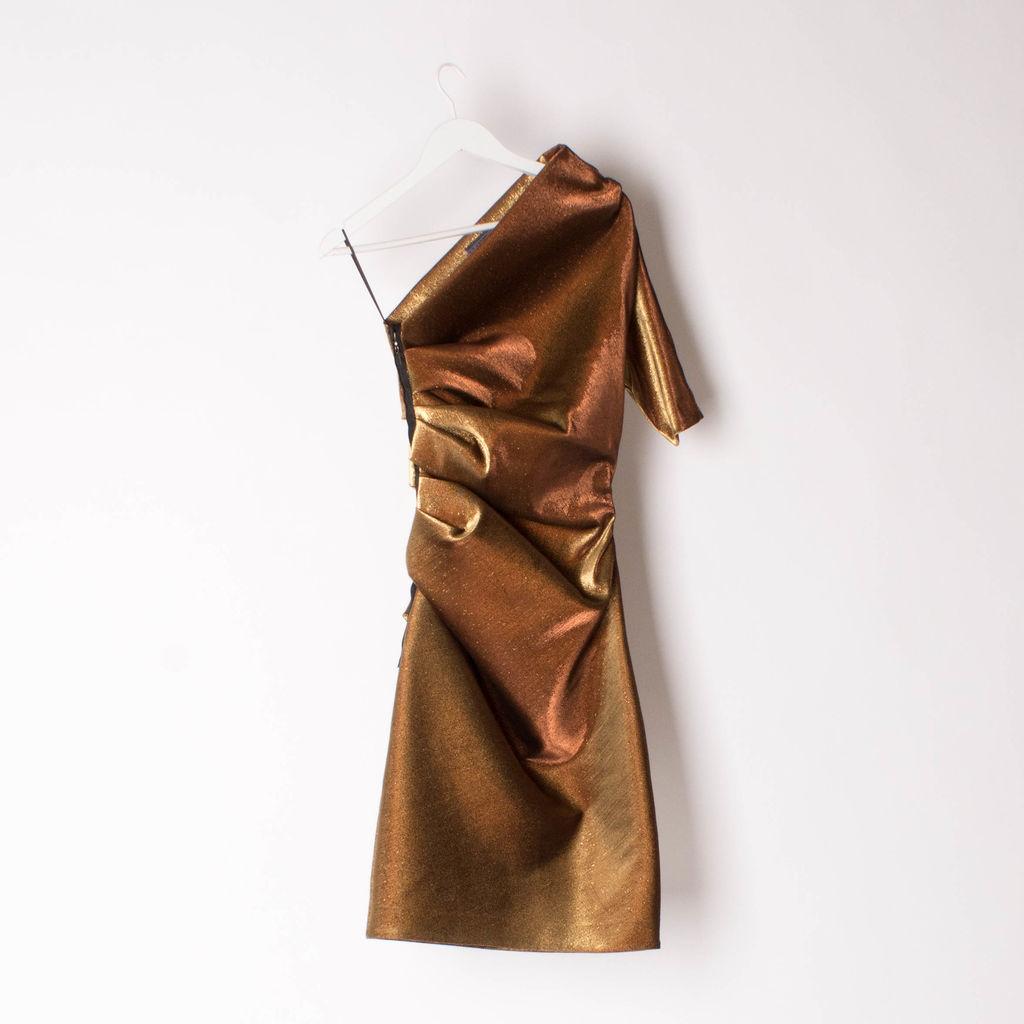 Lanvin Gold Lame One-Shoulder Dress