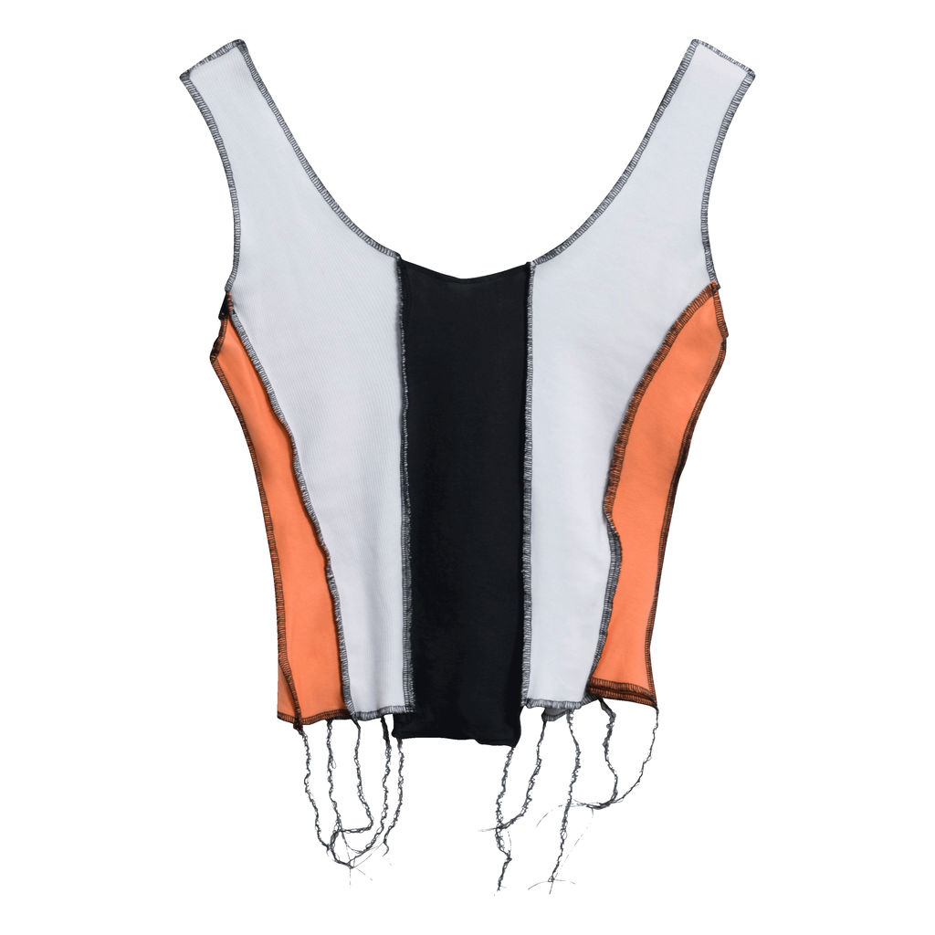 JJVintage Reworked Tank in Black/White/Orange
