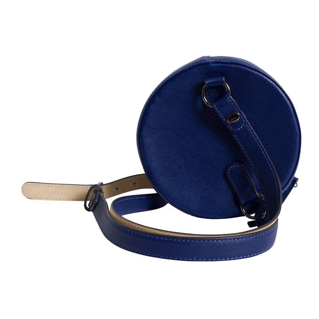Vintage Longchamp Round Leather Crossbody - Navy