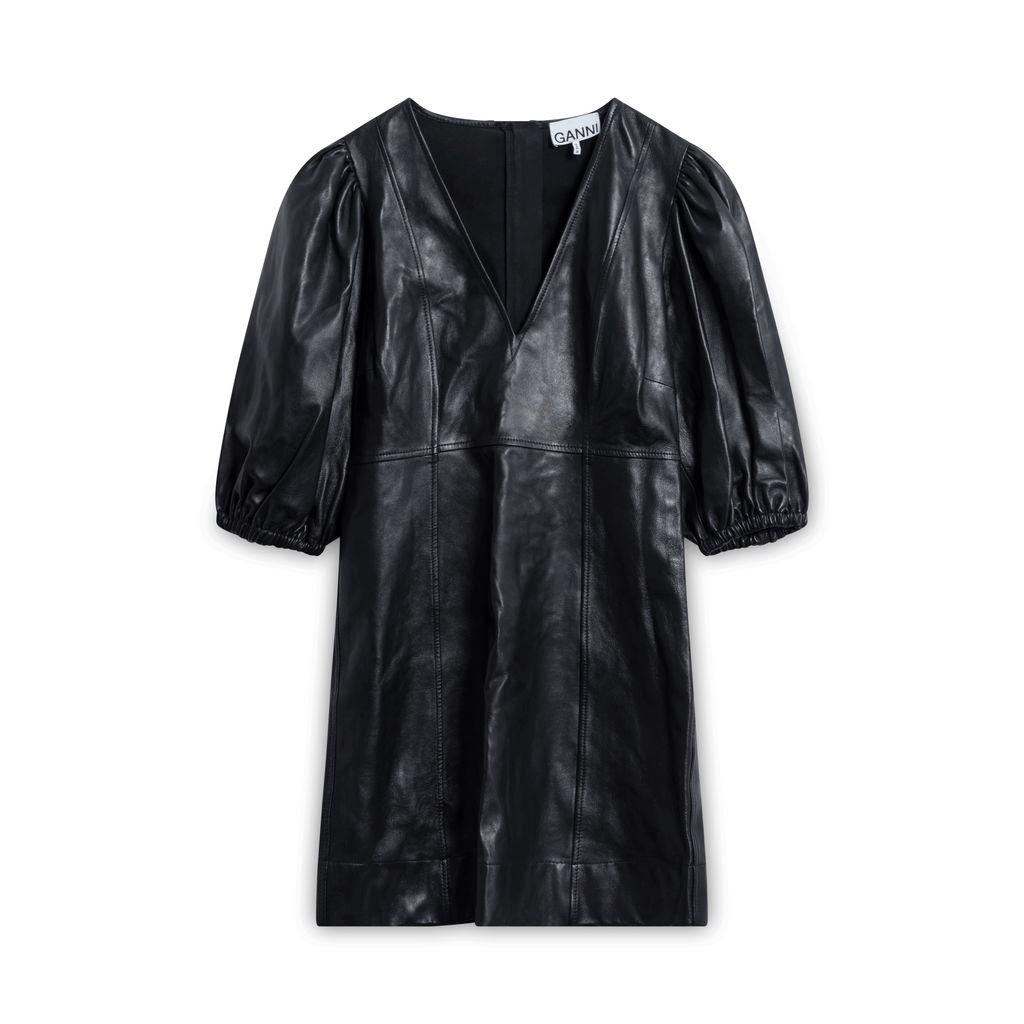 GANNI Puff-Sleeve Lambskin Leather Mini Dress - Black