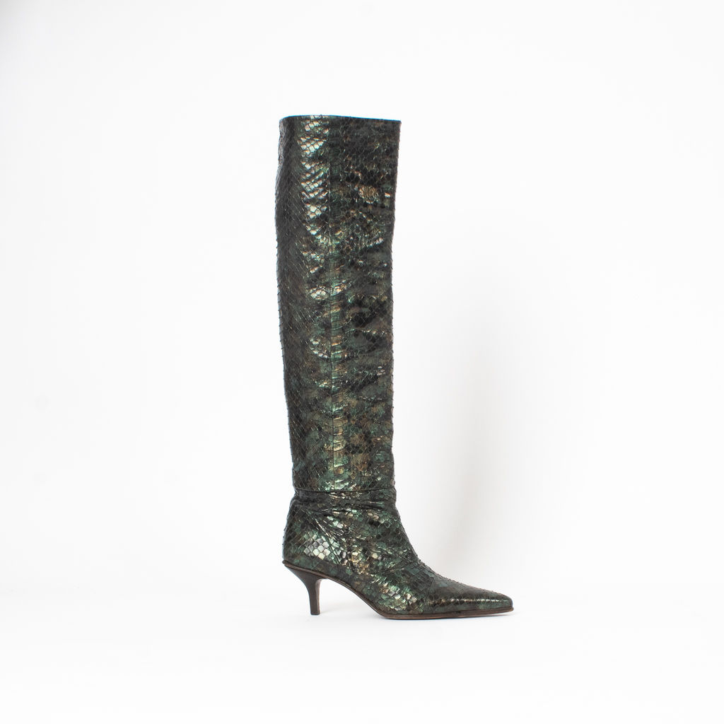Gucci Snakeskin Mid Heel Boots