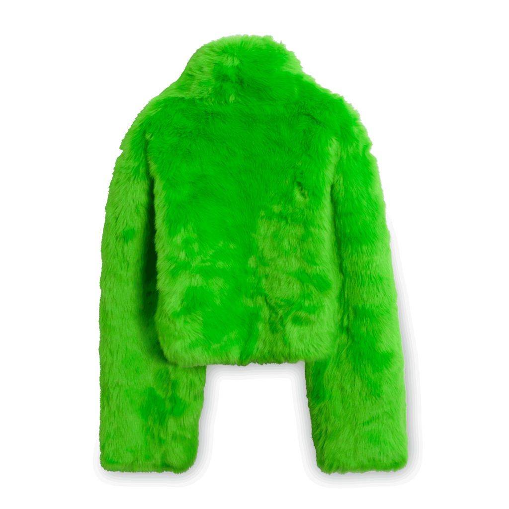 Club Exx Crop Fur Coat in Green