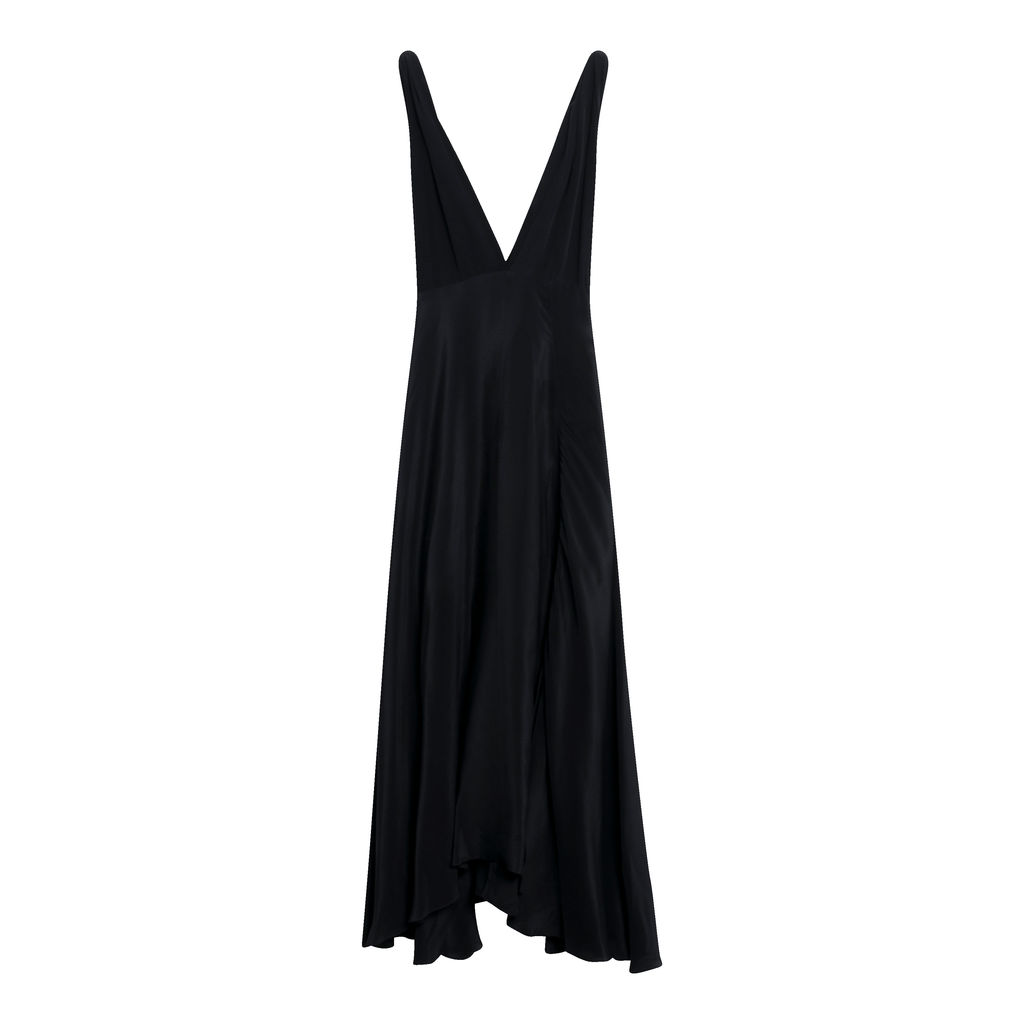Cirrus Crepe de Chine Black Dress