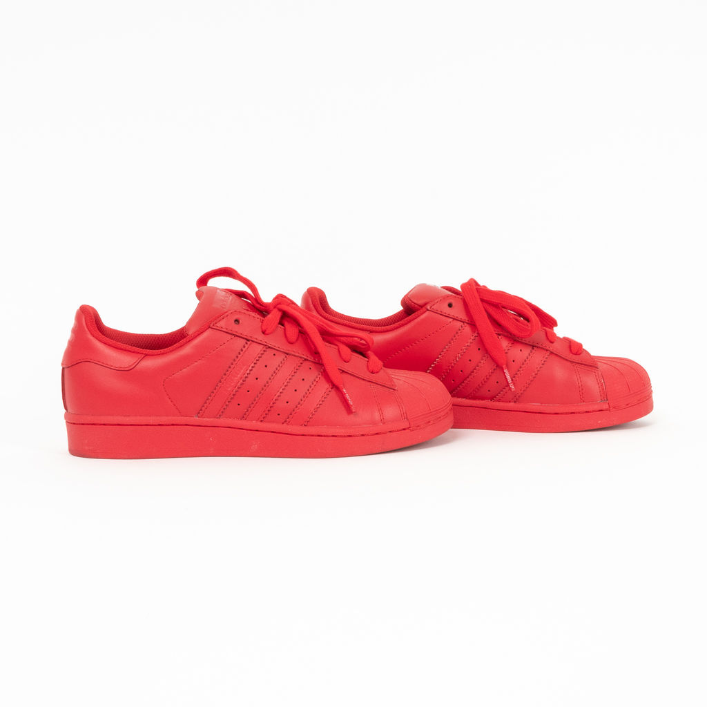 Adidas x Pharrell Williams Red Leather Superstars