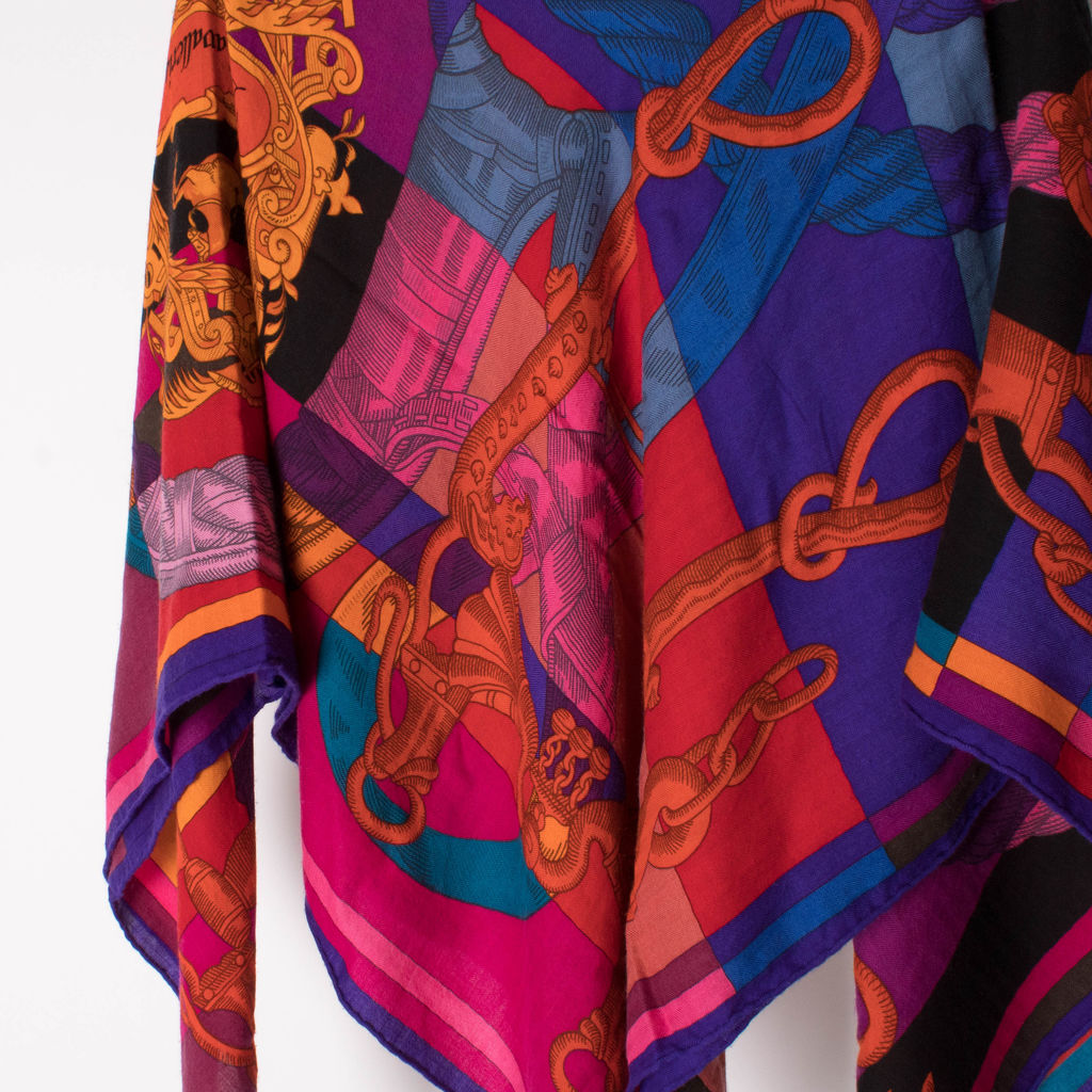 Hermes Paris Della Cavalleria Cashmere and Silk Shawl