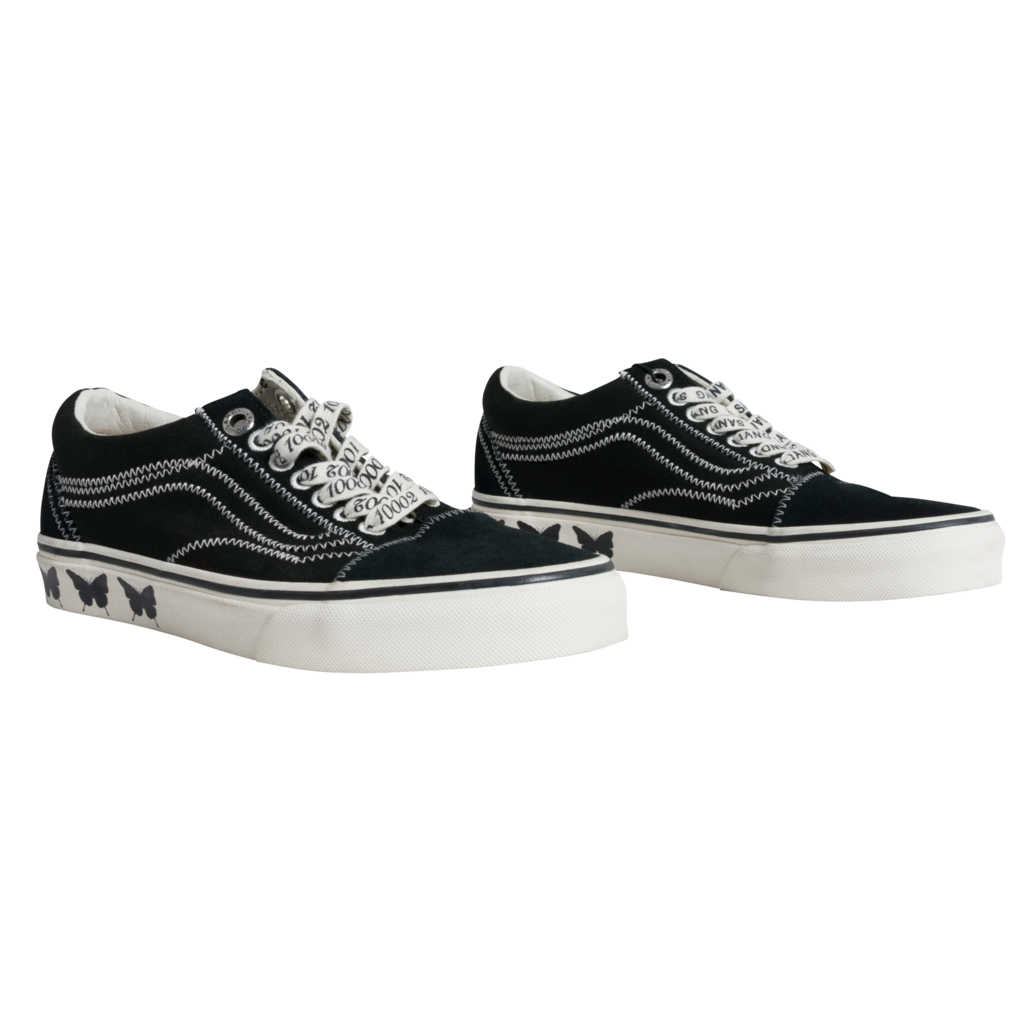 Vans x Sandy Liang Old Skool Embroidered Printed Canvas and Suede Sneaker in Black