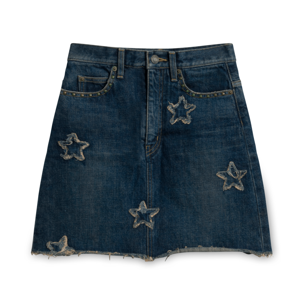 Saint Laurent Hedi Slimane Iconic Star Denim Miniskirt