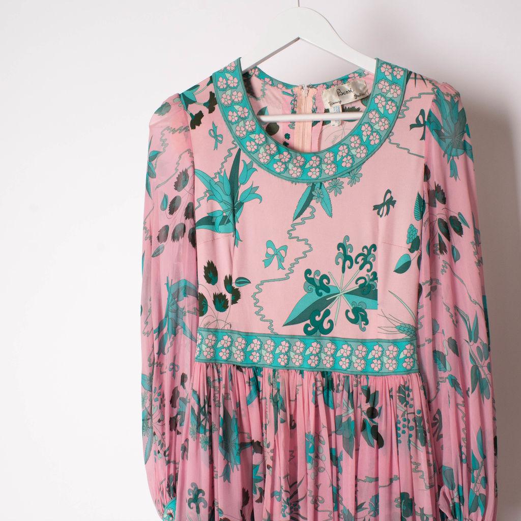 Vintage 70s Silk Averardo Bessi Maxi Dress