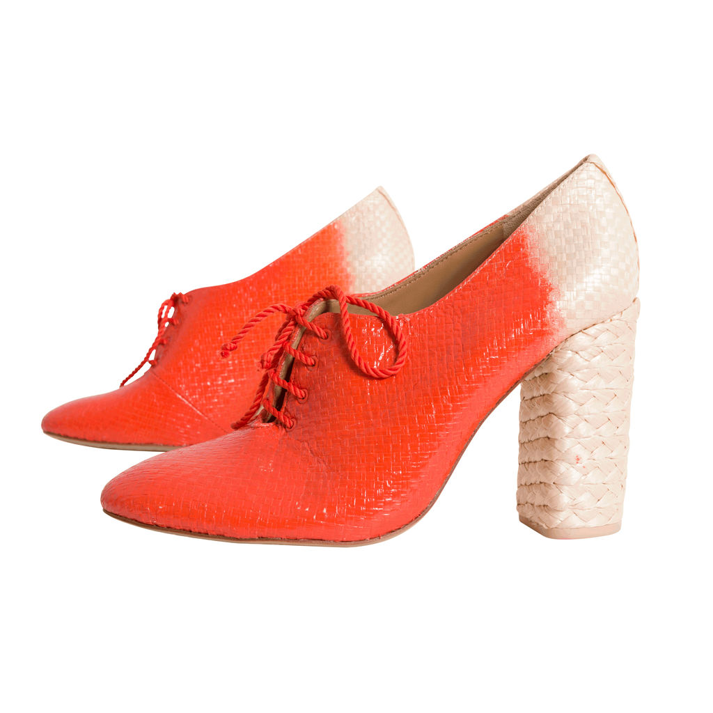 Vintage Tory Burch Woven Lace-up Heels - Orange/Tan