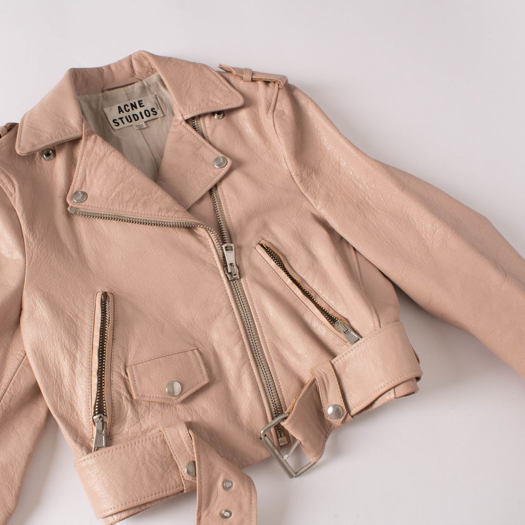 Acne Studios Mape Cropped Pink Leather Jacket