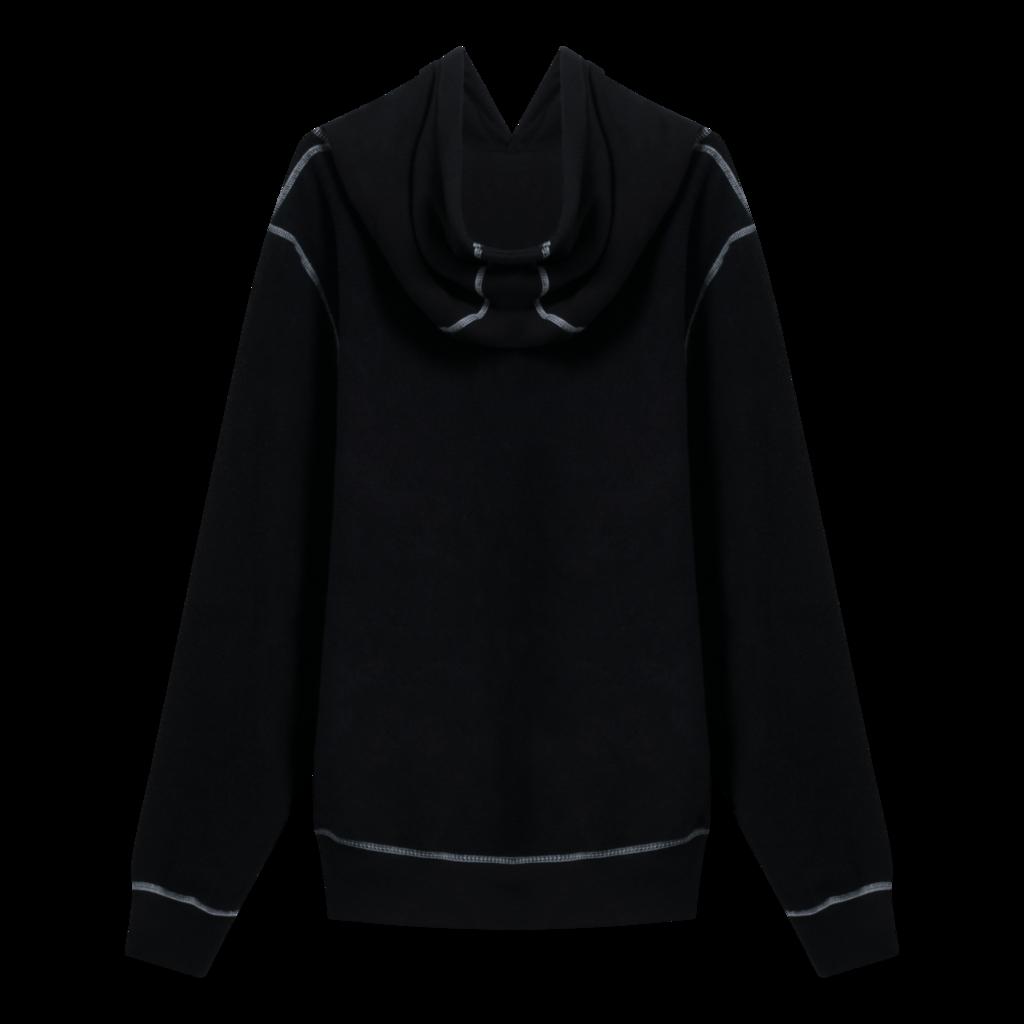 Noah Reverse Fleece Contrast Stitch Hoodie in Black