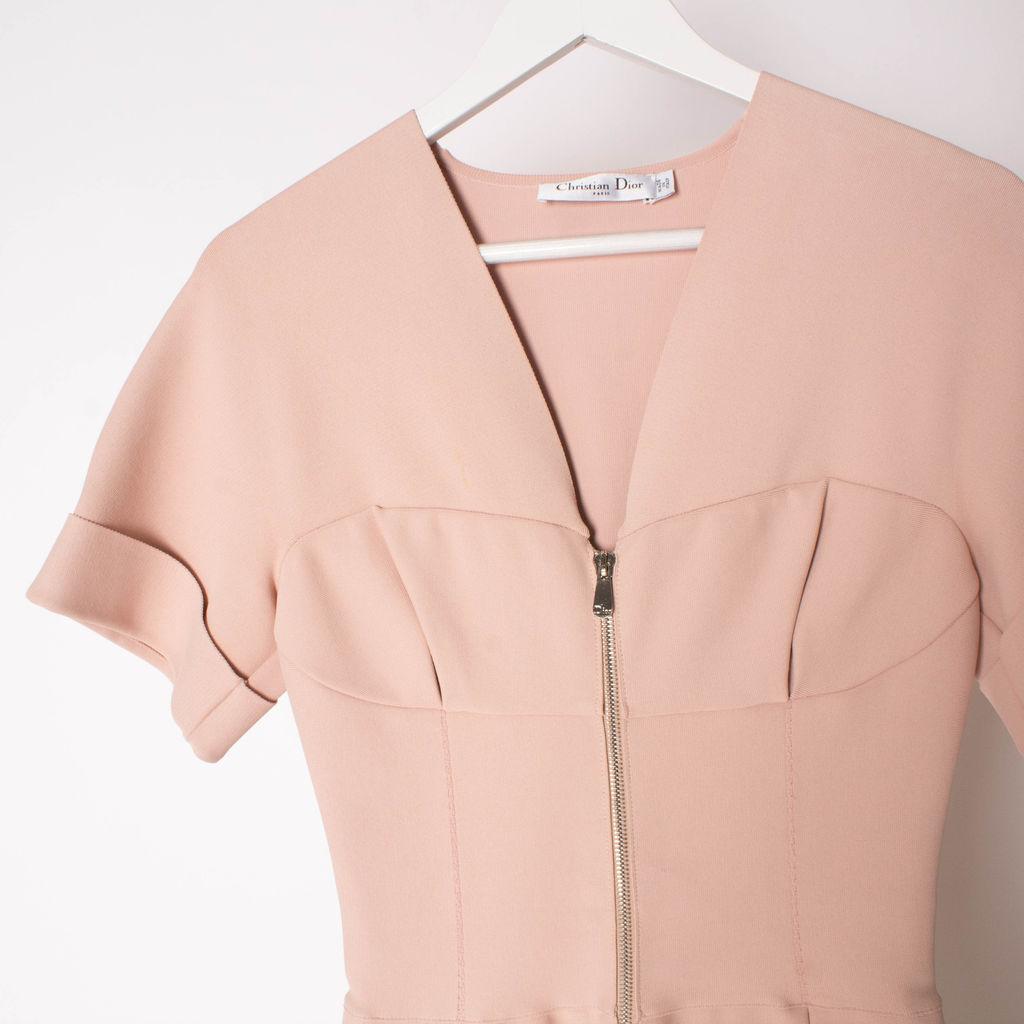 Christian Dior Pink Corset Zip Front Dress
