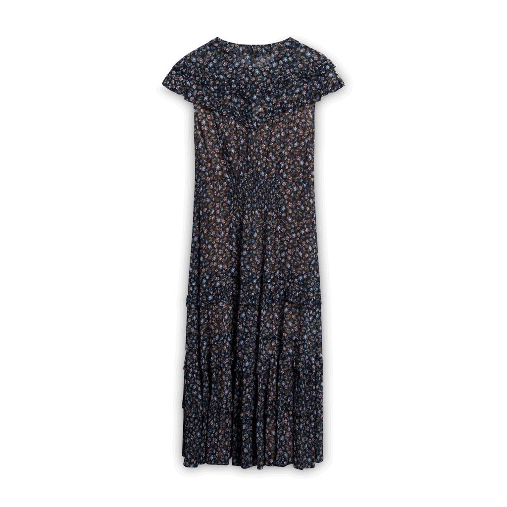 Rebecca Taylor Zelma Floral Clip Ruffle Dress