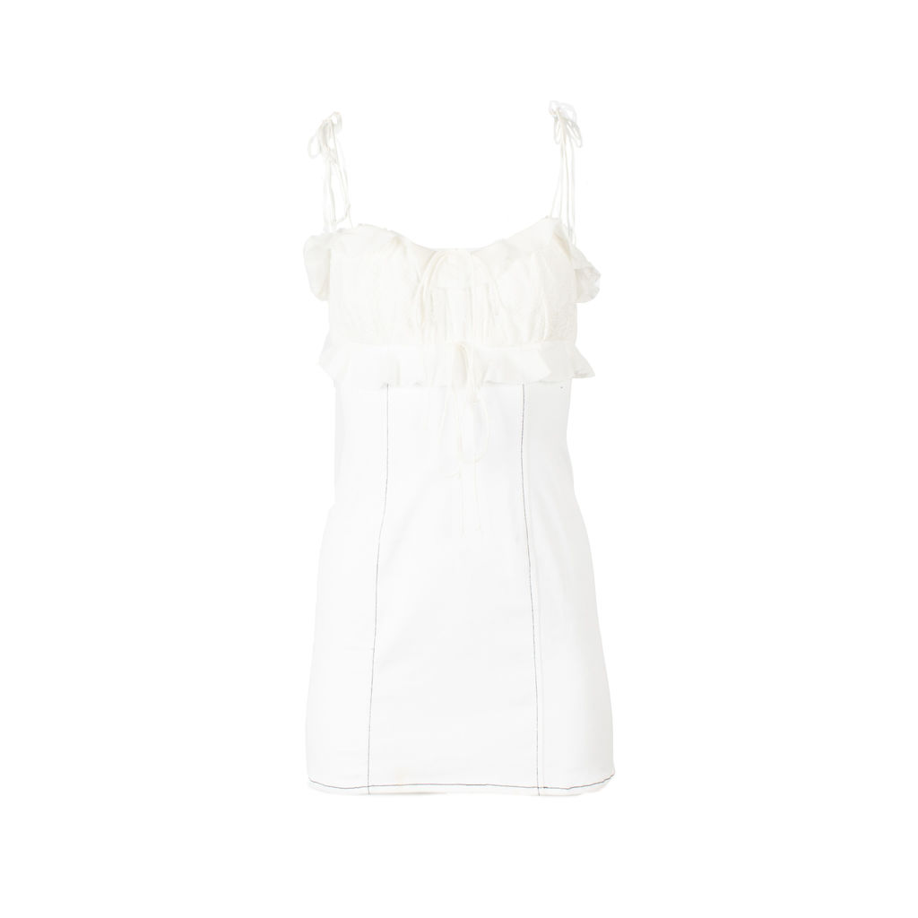 For Love & Lemons Denim and Embroidery Mini Dress