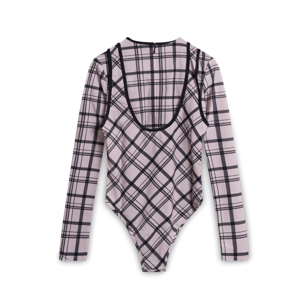 Markoo Plaid Bodysuit - Pink