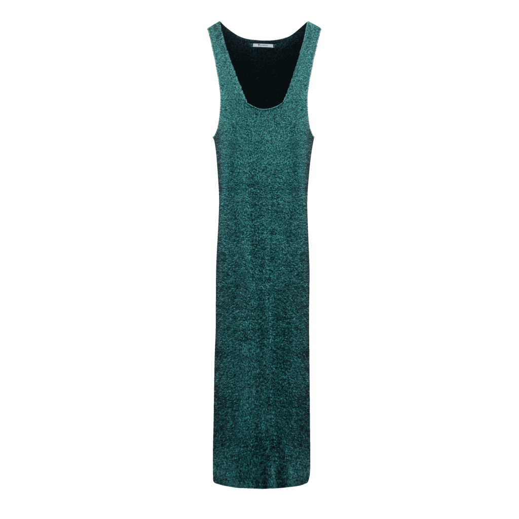 T by Alexander Wang Sleeveless Rib Knit Dress in Emerald/Navy