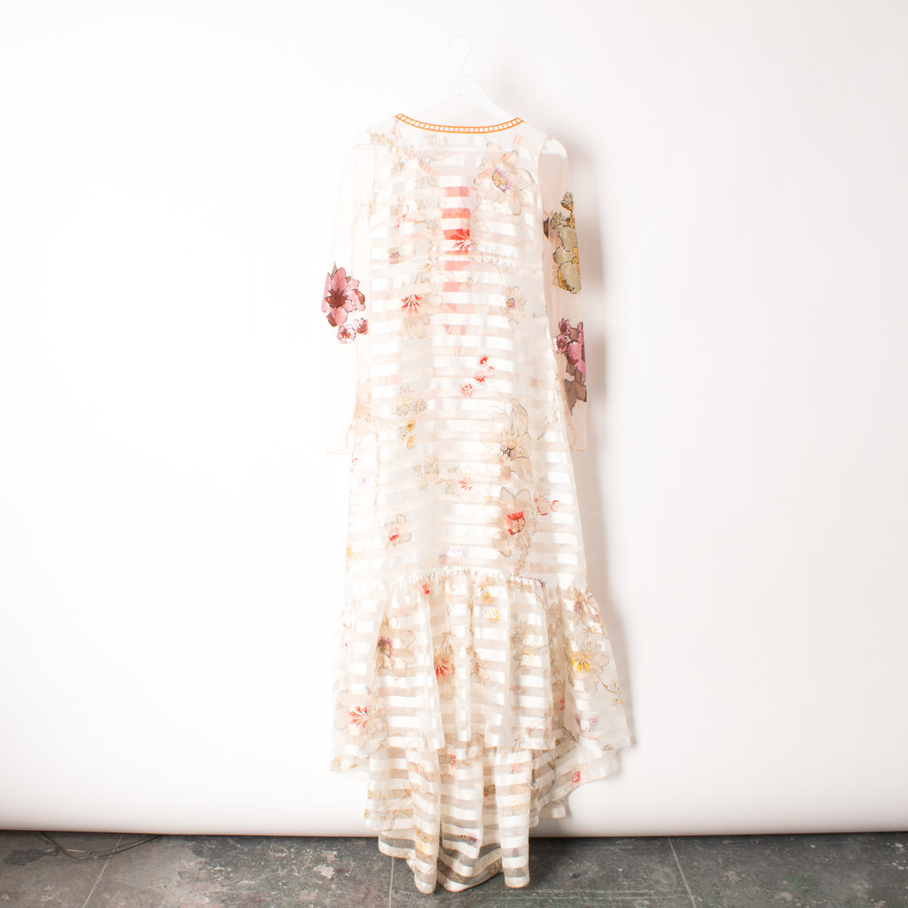 Fendi Floral + Stripe Organza Dress