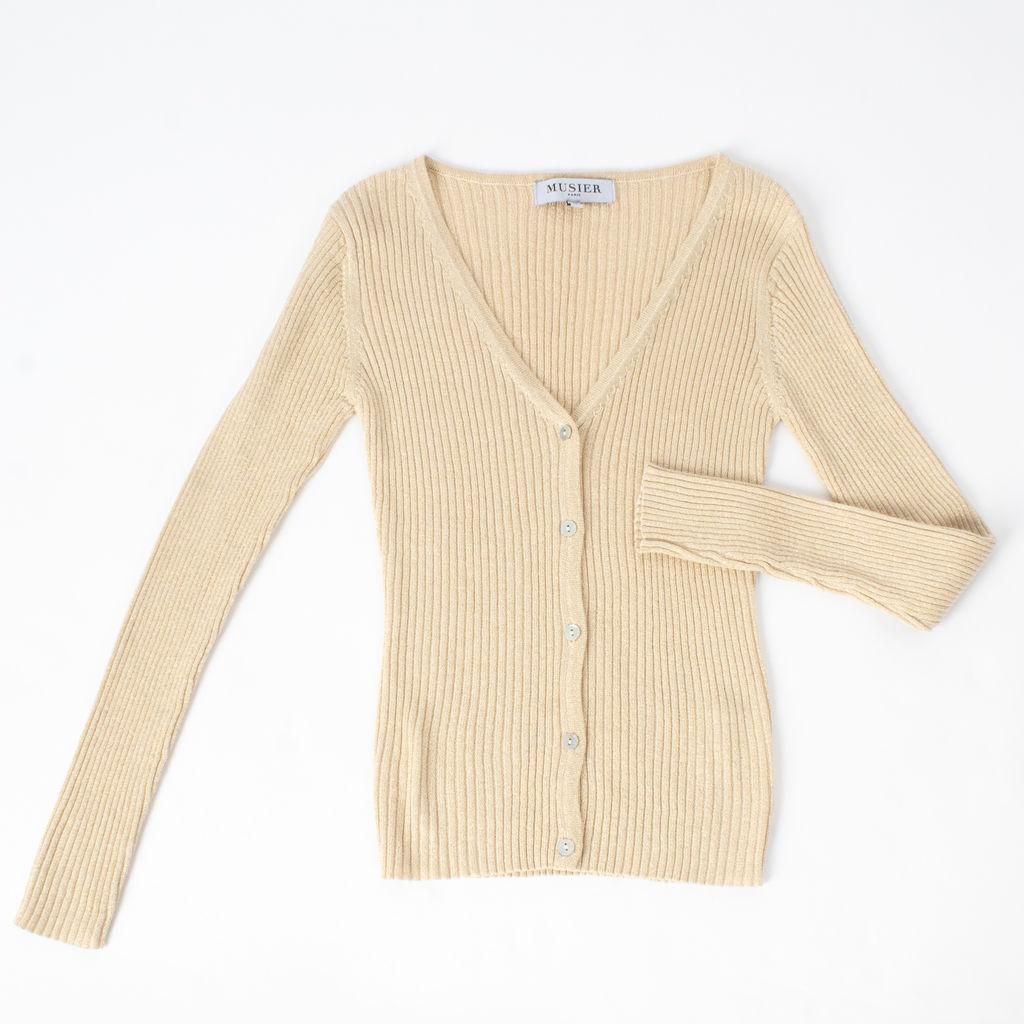 Musier Paris Suzie Metallic Knit Cardigan in Gold