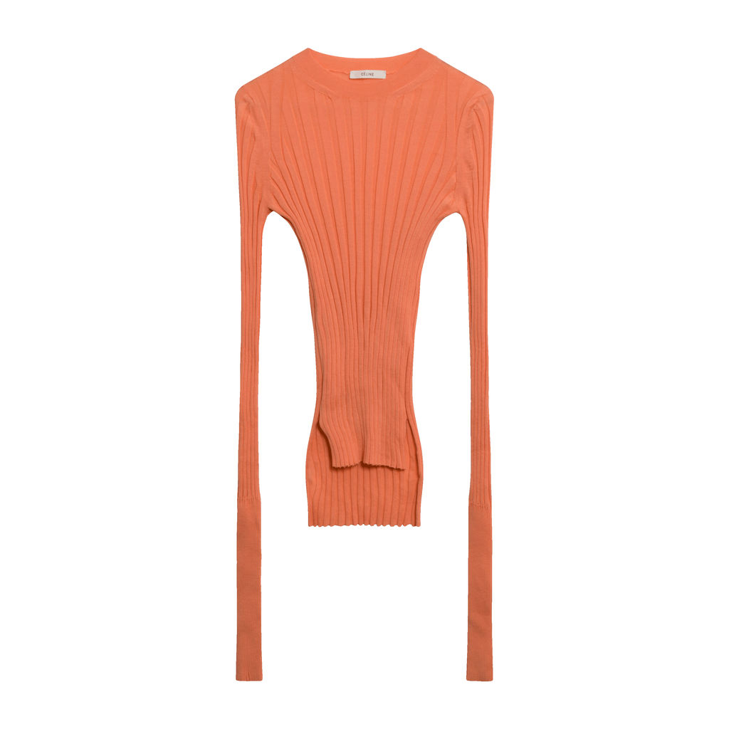 Céline Rib Knit Wool Crewneck Sweater in Orange